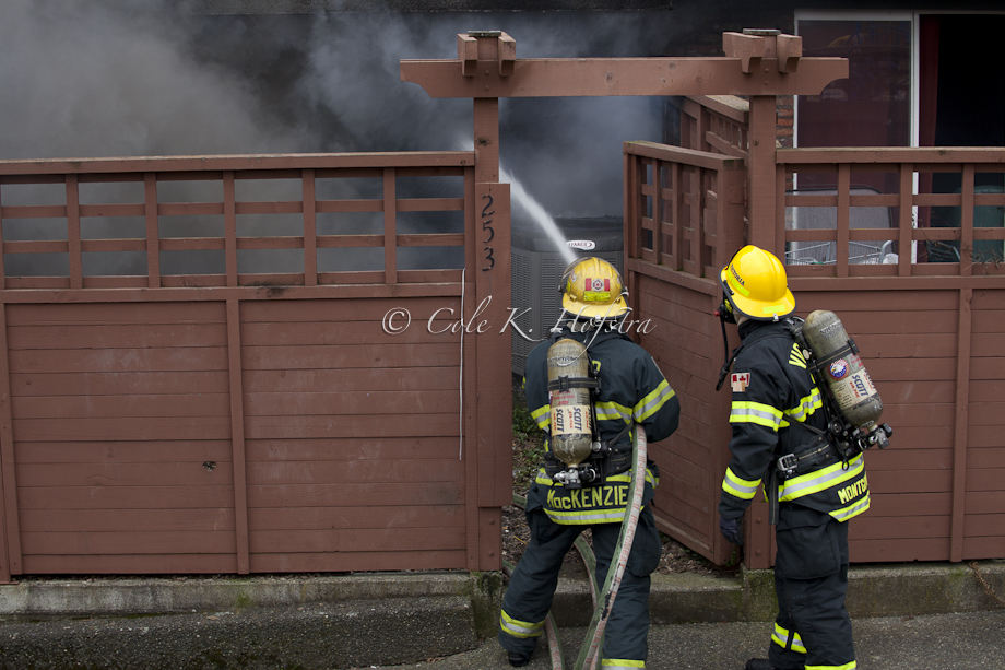 Cole Hofsra, news, photo journalism, victoria, bc, fire, people, burning, firemen, water flame (1 of 2)