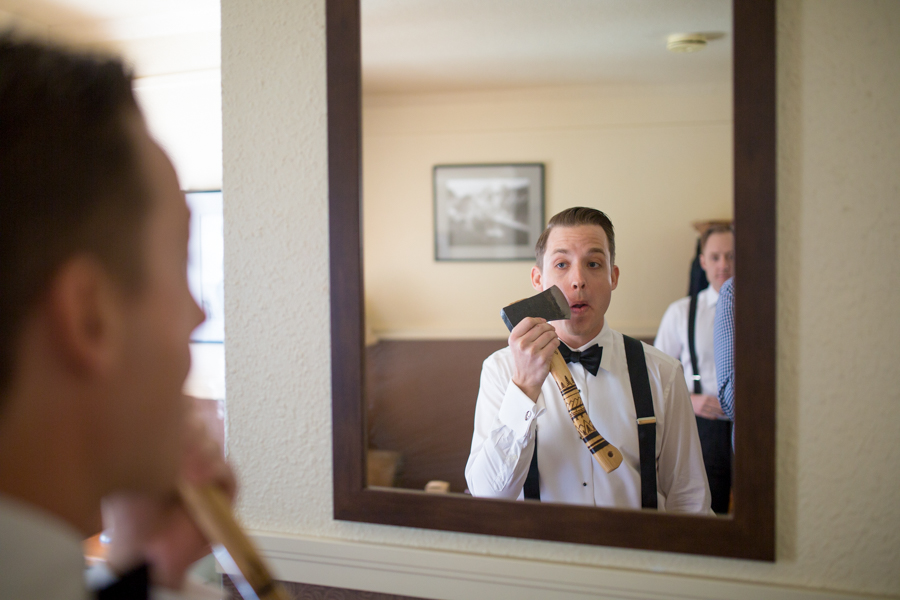 Deer Lodge wedding with groom shaving