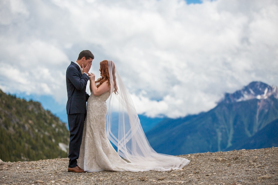 groom cries during first look kicking horse wedding