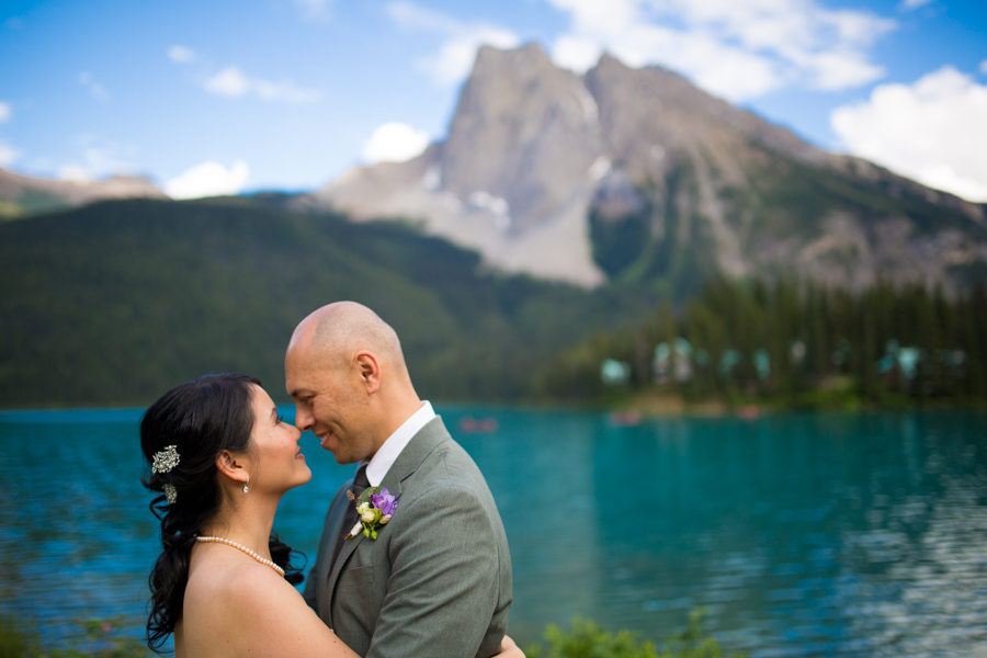 couple at emerald lake lodge in summer