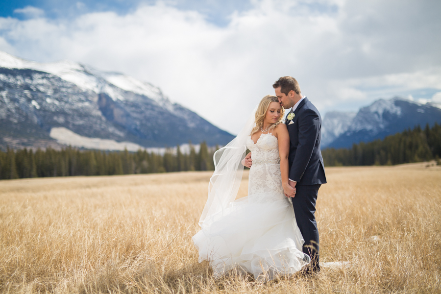 bride and groom in Canmore
