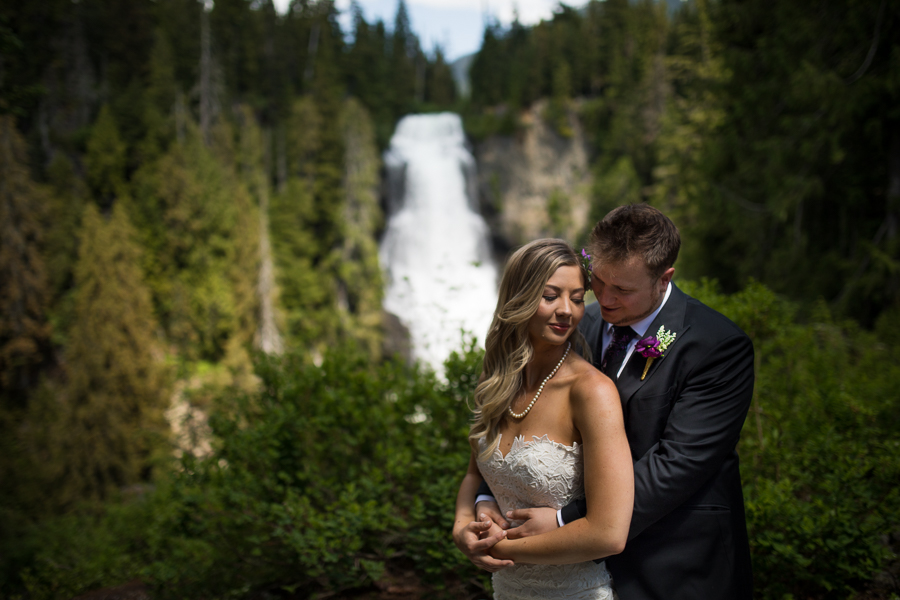 whistler wedding in front of a waterfall