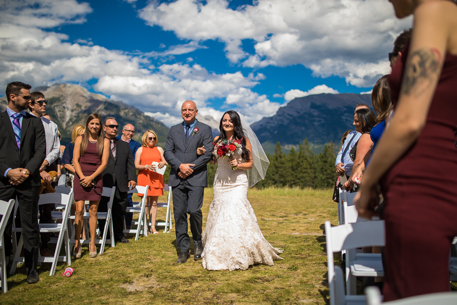 wedding ceremony at Quarry lake park, quarry lake wedding, canmore, alberta