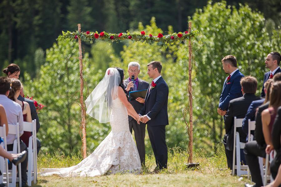 wedding ceremony at Quarry lake park, quarry lake wedding, canmore, alberta