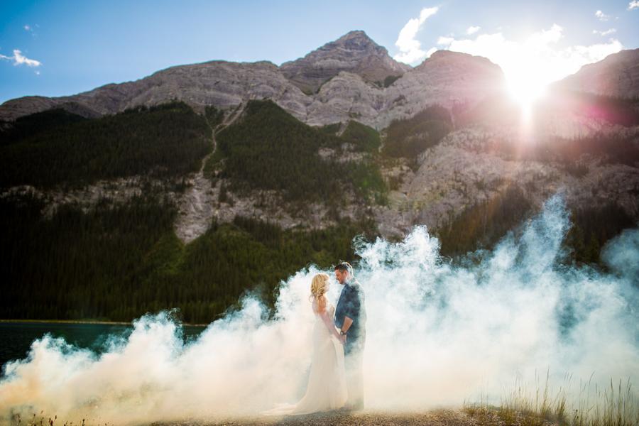 smoke bomb elopement photos