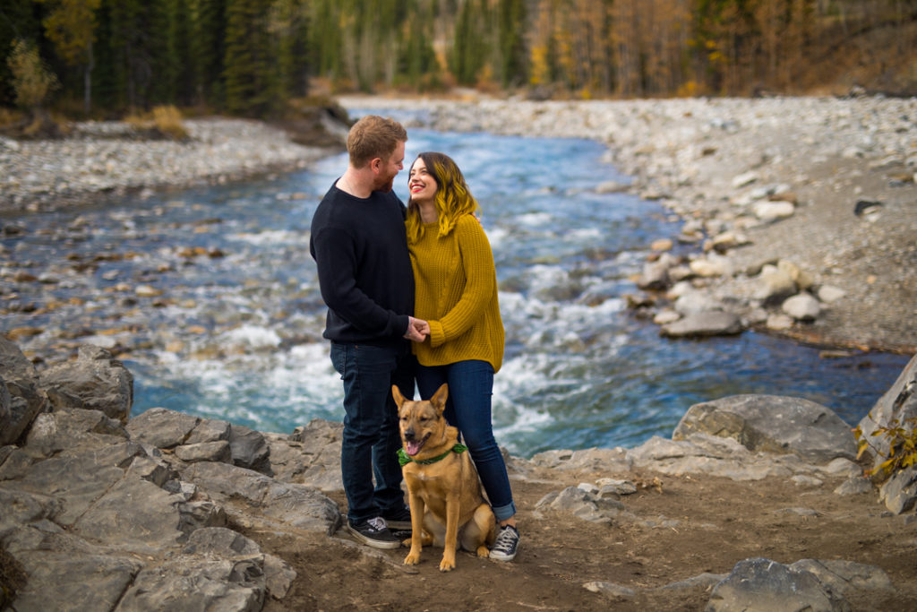 puppy, bragg creek, river, engagement, bragg creek engagement, love in the mountains, rockies engagement
