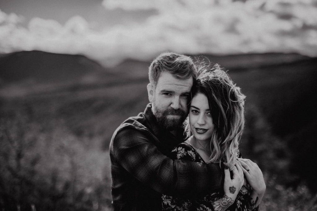 puppy, bragg creek, river, engagement, bragg creek engagement, love in the mountains, rockies engagement, dirty boots messy hair
