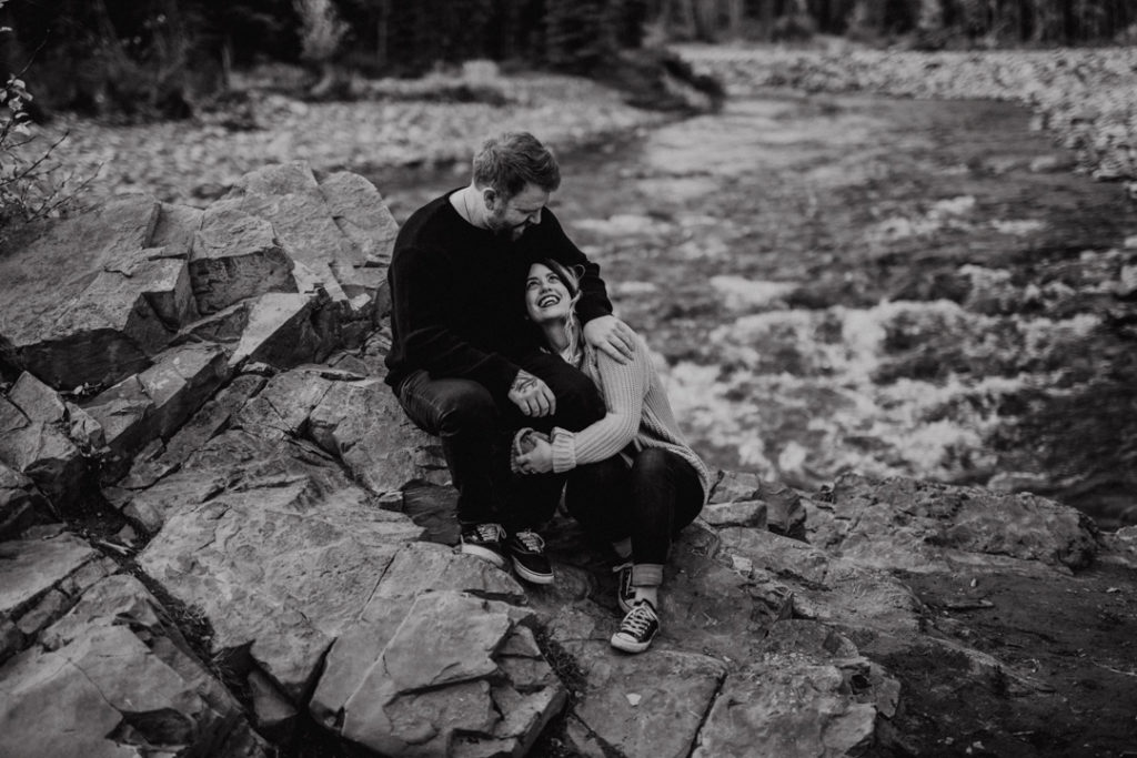 cuddle session on the rockies, puppy, bragg creek, river, engagement, bragg creek engagement, love in the mountains, rockies engagement