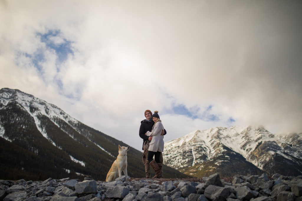 Peter, Laughed provincial park, provincial park, alberta parks, couple, dog, engagement, canmore engagement