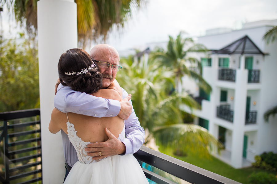 first look form father, dad sees his baby, destination, mexico wedding
