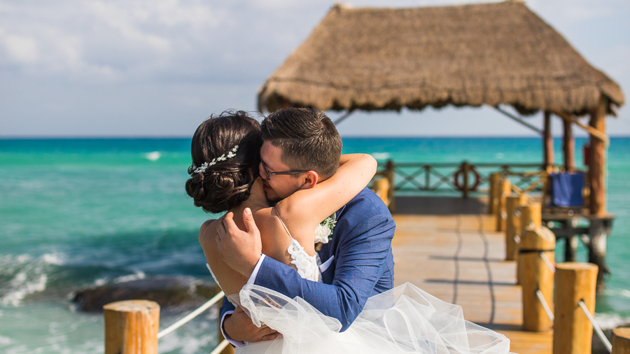 first look on a dock, first look mexico wedding