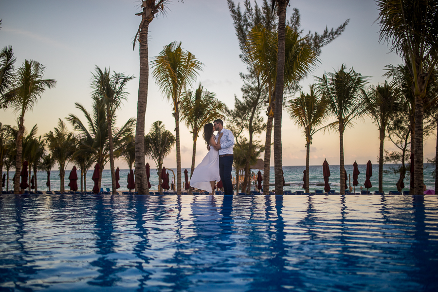 pool side creative photo, destination wedding