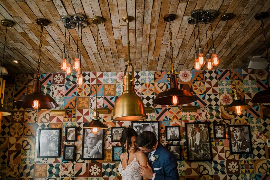 creative bride and groom shots, mexico wedding, at azul fives resort, tequila bar