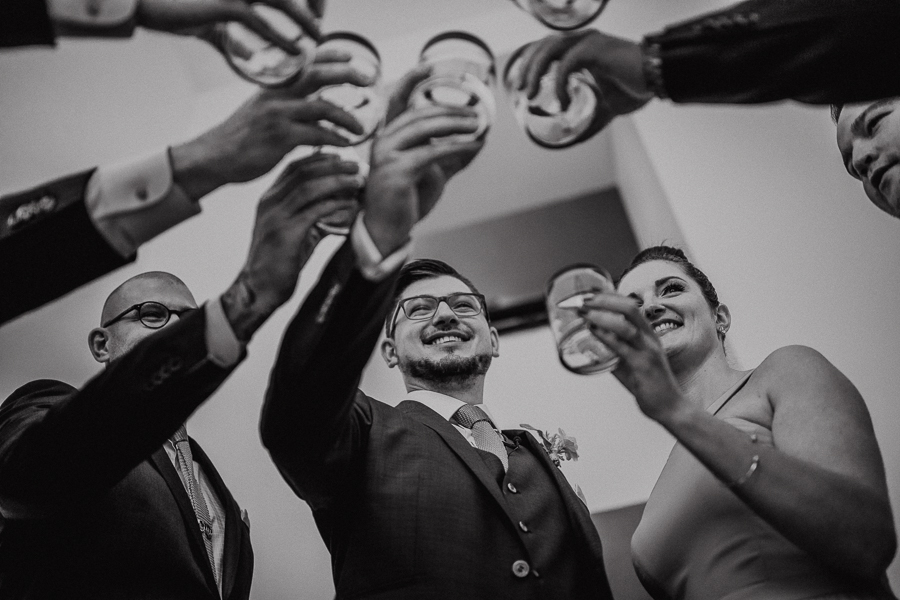 wedding party cheers, destination wedding, calgary destination wedding photographer