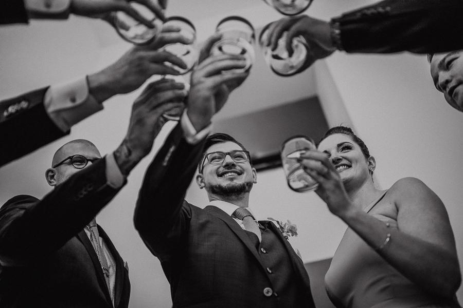 wedding party cheers, destination wedding, calgary destination wedding photographer