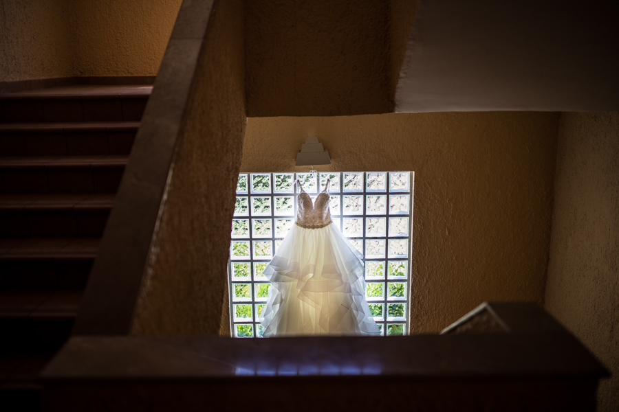 wedding dress, hanging in destination wedding, barrel maya caribe