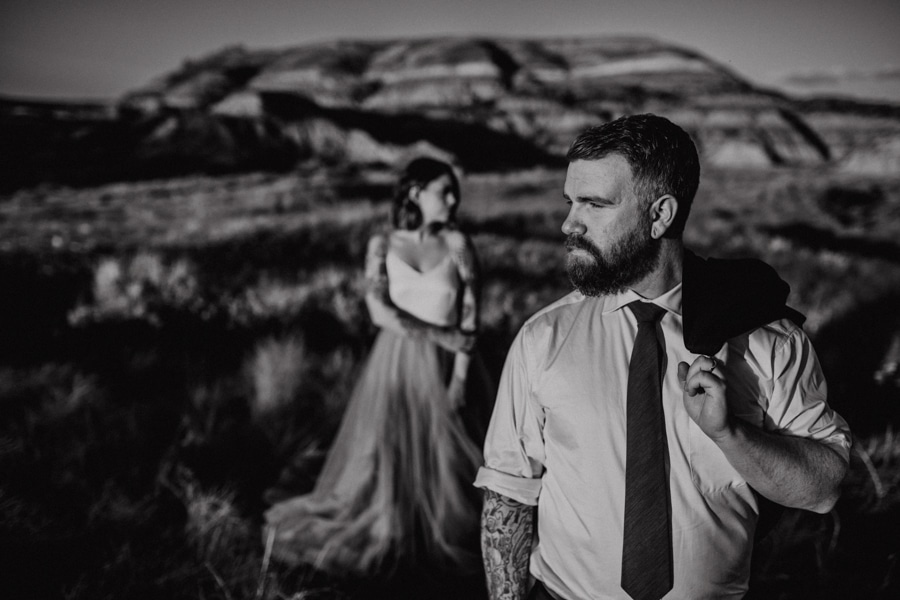 creative artistic groom shots from drumheller alberta