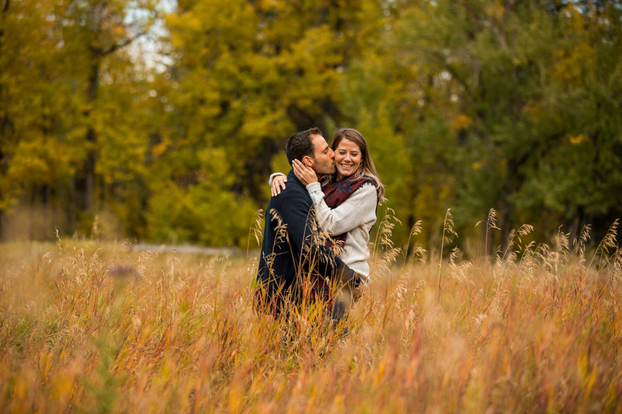 vibrant fall engagement session Fish Creek Park