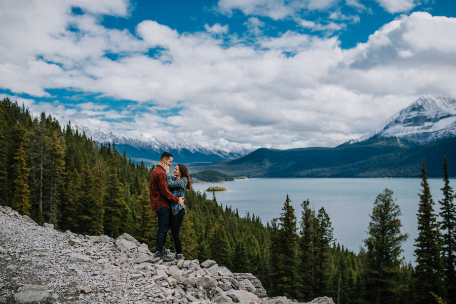 stunning couple in Kananaskis engagement