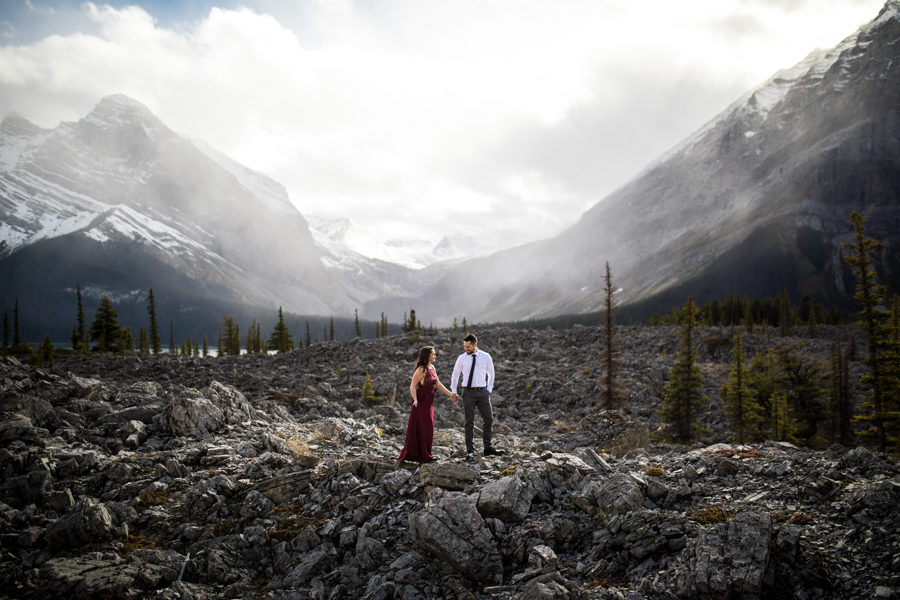 Canmore engagement photography, couple having an adventure engagement