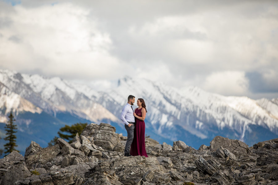 on top of a mountain engagement
