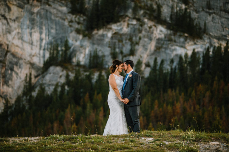 Buffalo Mountain Lodge wedding with bride and groom standing in the ceremony site