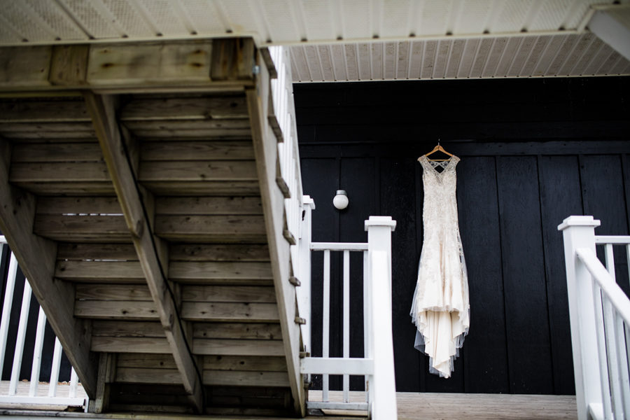 wedding dress hanging in the stairwell of The Inverary Resort in Baddeck Nova Scotia,