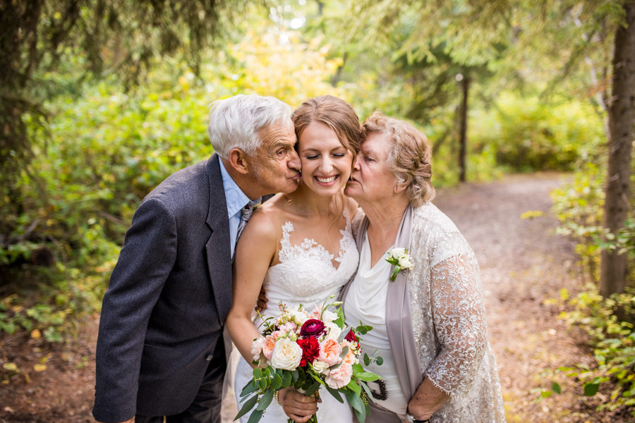 bride with her grand parents