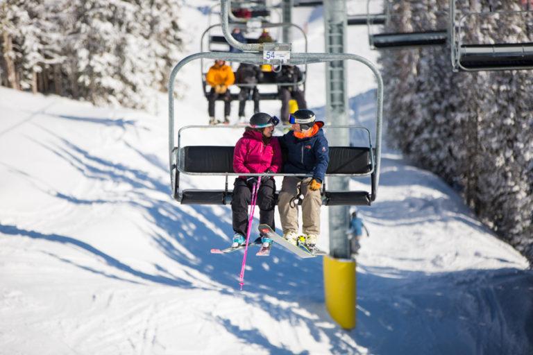 skiing engagement at sunshine village