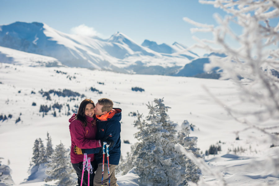 skiing engagement session at sunshine village