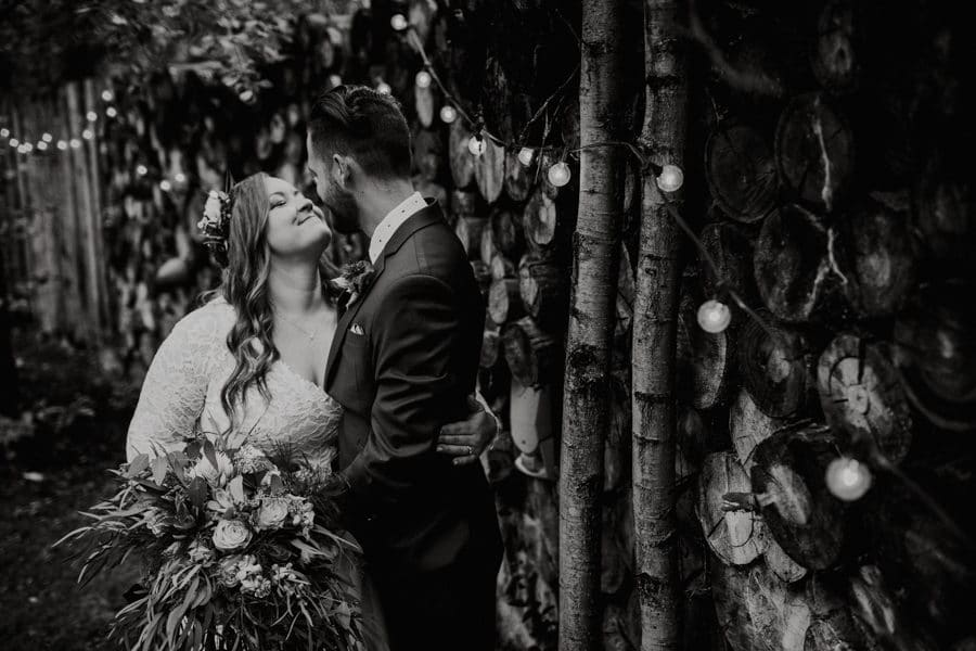 bride and groom at Woodland and wildflower wedding venue