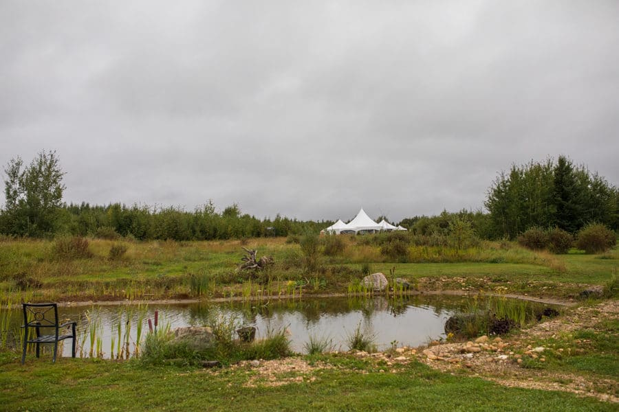 tent set up on the grounds of woodland and wildflower wedding venue