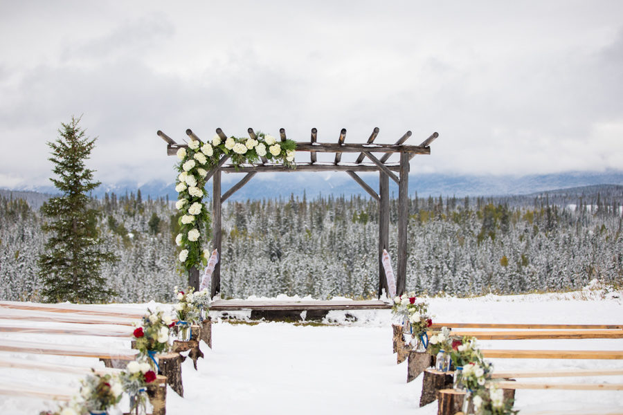 outdoor wedding ceremony set up in Hinton alberta
