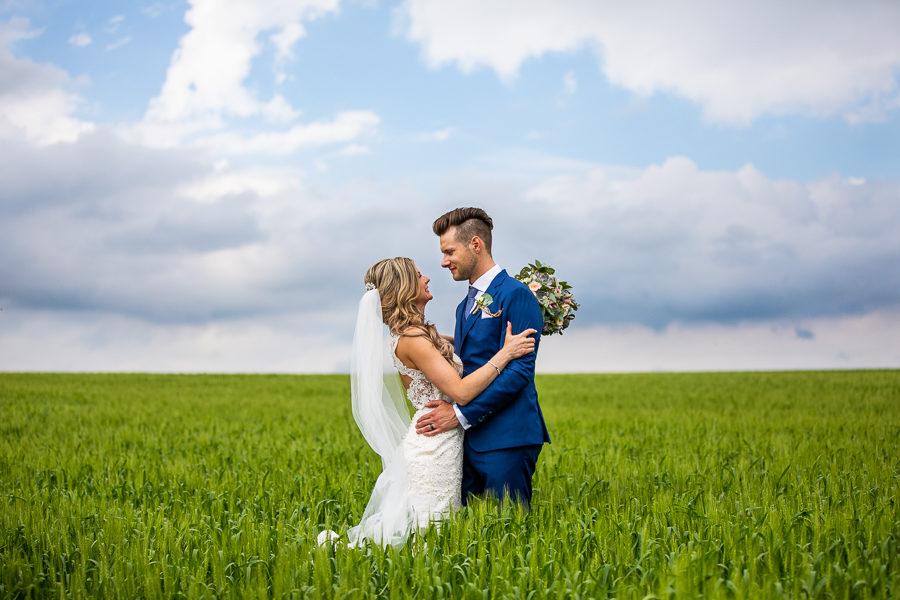 wheat field bride portrait