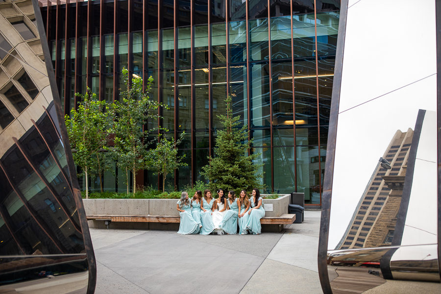 downtown wedding party picture ideas