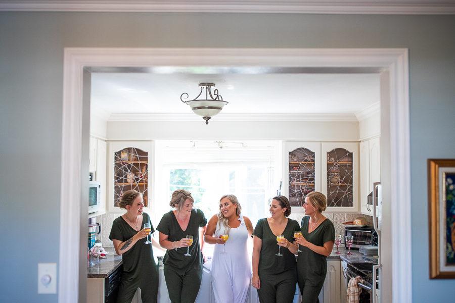 Fun wedding photographers in St. John's Newfoundland - Bridesmaids onesies