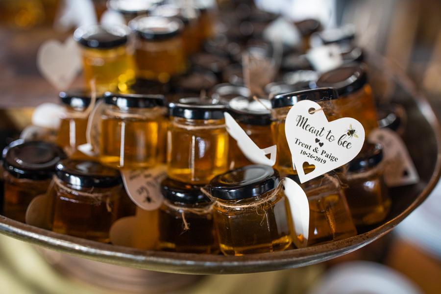 honey jars at a wedding
