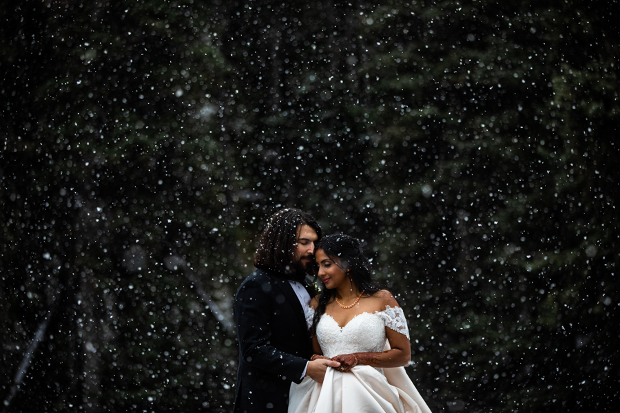 Couple in the snow by Cole Hofstra Calgary wedding photographer