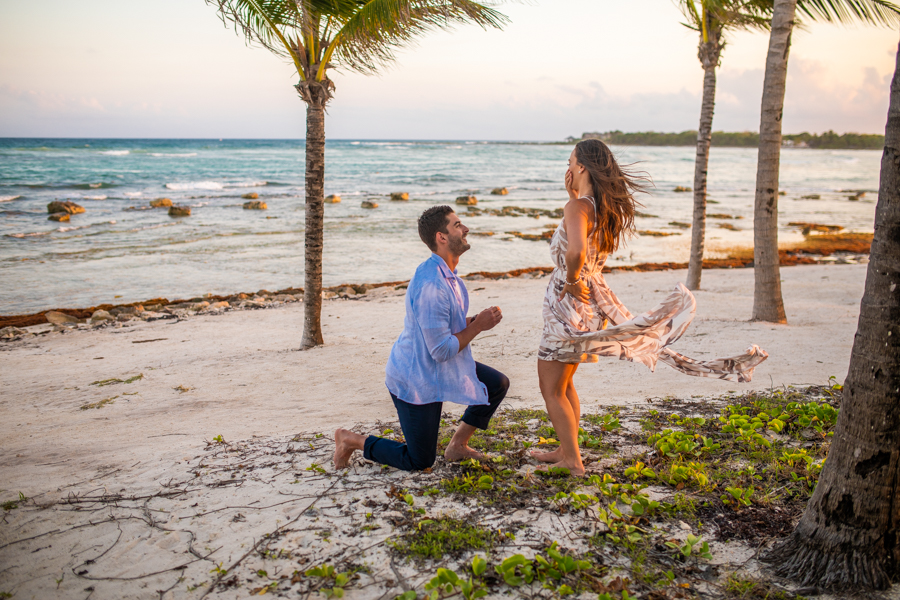 beach proposal in cancun mexico