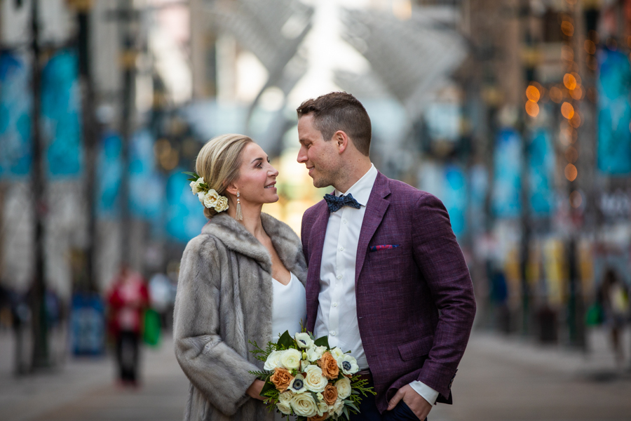 Wedding pictures on Stephen ave Calgary downtown