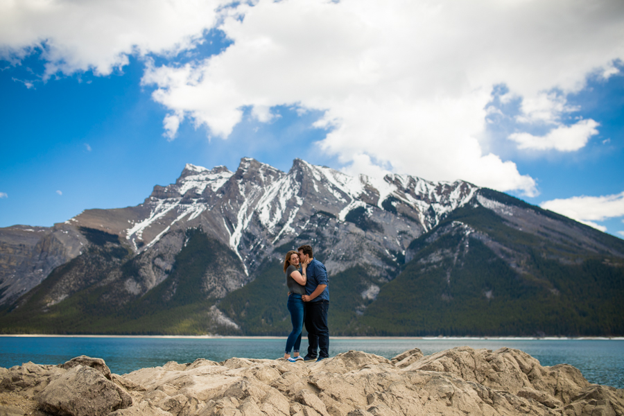 Lake Minnewanka engagement photo locations