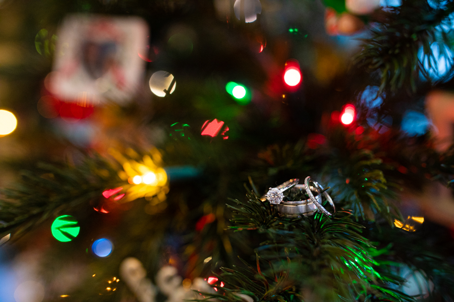 ring photos in a christmas tree