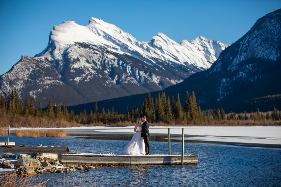 Banff wedding photographer - Cascade ponds water wedding