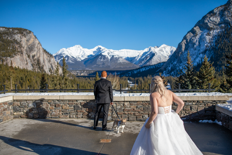 First look Fairmont Banff Springs wedding