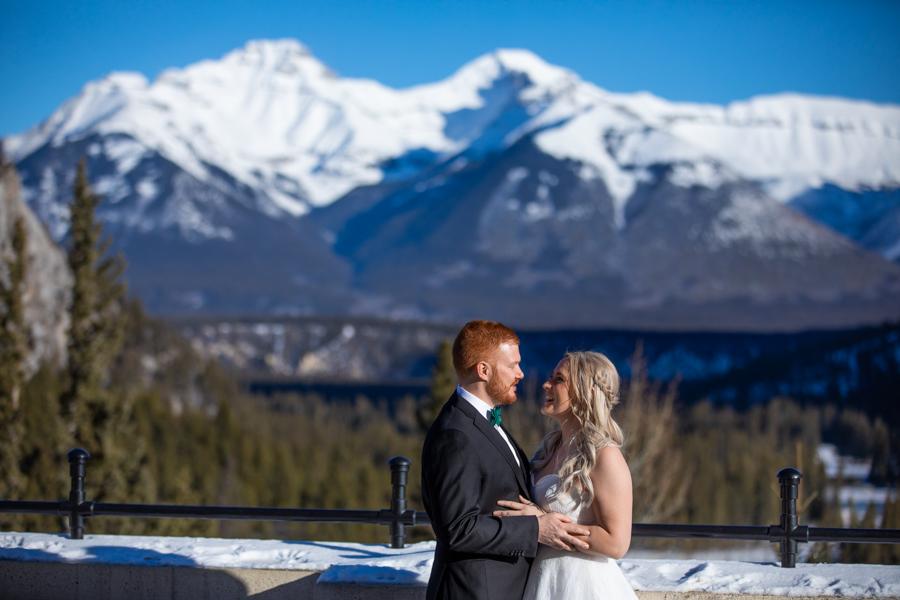 First look Fairmont Banff Springs wedding