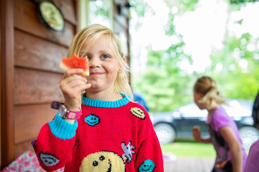 kids eating watermelon in family photos