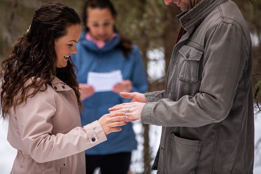 exchanging rings in small covid-19 elopement