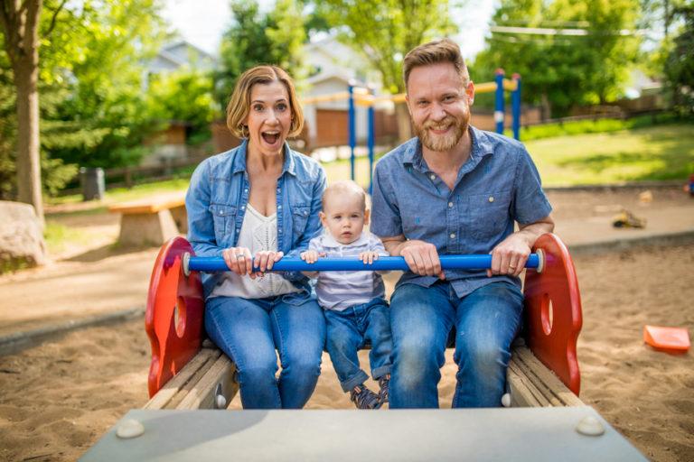 Calgary park family photos on a swing