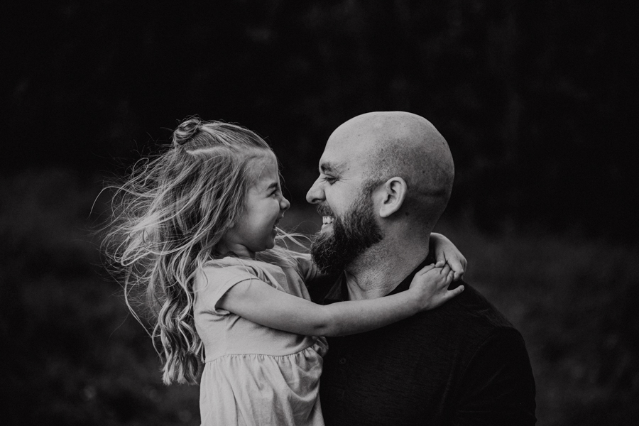 Local family photograph dad and little girl