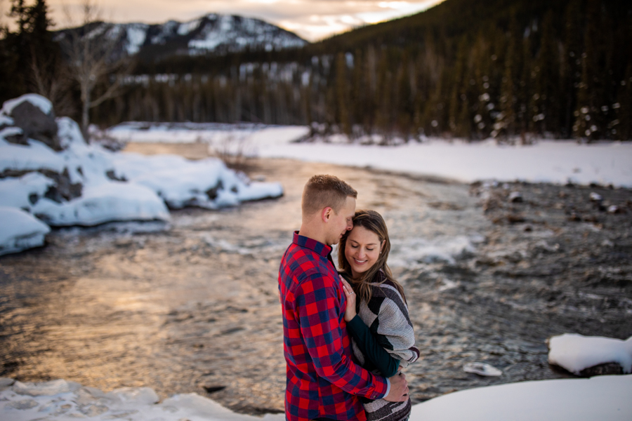 Engagement Photos Elbow Falls at sunrise